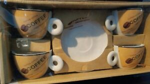 COFFEE,CAPPUCCINO,ESPRESSO 4 CUPS 4 SAUCERS NEW