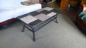 Rod iron table with tile top