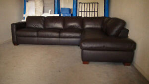 """Free Delivery: Italian """"Natuzzi"""" All Leather Sectional Couch"""