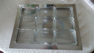 Horderves Tray with 9 glass insert dishes
