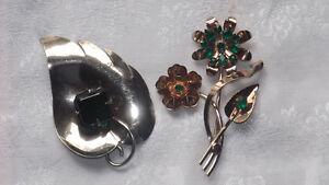 Vintage HUGE Sterling Silver Brooches  Rhinestones $25.00 each