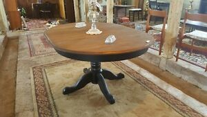 Solid Wood Pedestal Table with Leaf
