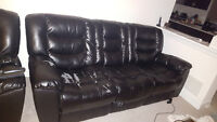 Free 7' Black Bonded Leather Couch (Beeton)