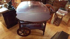 Antique dropleaf tea wagon serving trolley with a drawer West Island Greater Montréal image 3