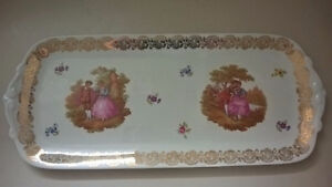 Limoges Antique French  Tray Hand Painted w/ Victorian Couple