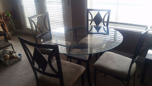 Glass kitchen table and chair set