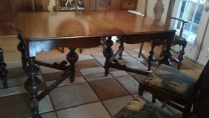 Antique Dinning Table 6 chairs and cabinet