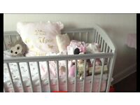 Babys pale grey cot and mattress