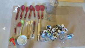 Kitchen tools, cups, bowls, spice rack