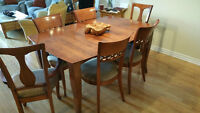 BEAUTIFUL DINEC BIRCH DINING ROOM SET TABLE AND 6 CHAIRS MINT