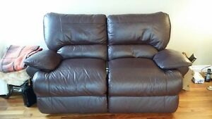 Brown Leather Loveseat, power recliner.