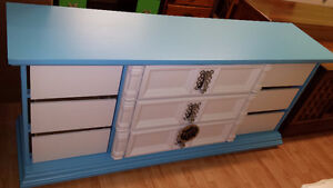 nice blue dresser with white drawer fronts