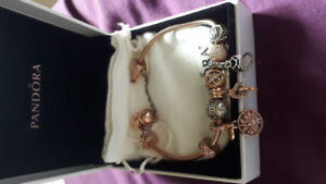 Pandora Rose Gold bracelet, charms & rings