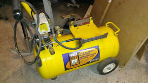 Compressor air tank with pressure switch and gauges