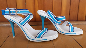 Blue-white high heels sandals shoes