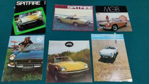 Brochures MGB, Triumph, Jaguar, Lotus, Fiat, Subaru 1965-90