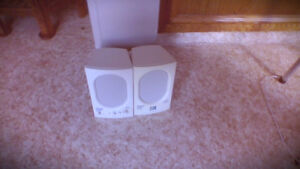 Speakers small in working condition off white