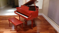 ___ Unique antique coral with gold accents baby grand piano
