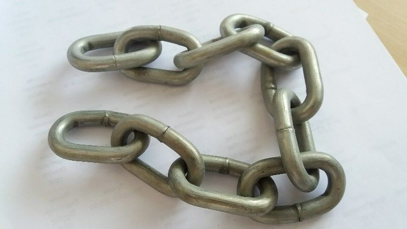 A 330mm LONG GALVANISED STEEL CHAINS - An UNUSED, STRONG & VERY FINE Steel Chains
