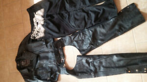 Womens motorcycle jacket, pants and chaps