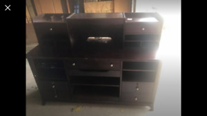 Office credenza and hutch