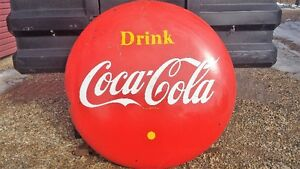 Vintage 4' Coke a Cola Button Sign