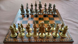 Vintage metal chess set and backgammon set made in Italy