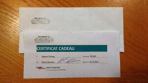 certificat cadeau de 100$ chez fibre signature inc
