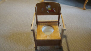 Antique Wooden Fold Up Potty Chair ( MAKE OFFER )