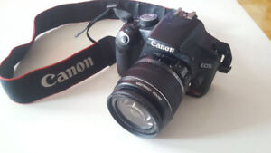 Canon T1i camera with Efs 18-55mm lens and case