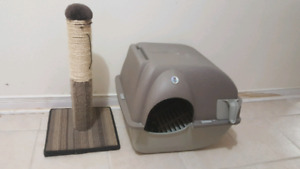 Cat litter box and scracthing post