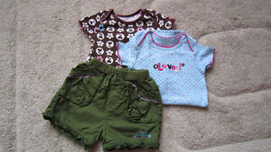 NEW girls Carter's bodysuit + TCP shorts 6-12 m $5 FOR ALL