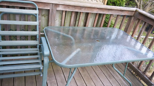 Patio set: glass table + 4 chairs SOLD