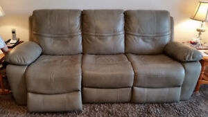 Beige Leather Reclining Sofa and Chair