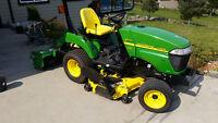 john deere 2305 tractor diesel 4x4  with mower deck and tiller