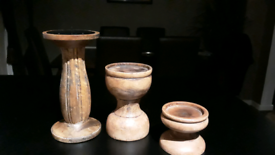 Wooden candle holders x 3