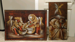 Matching set of Dominican Republic framed original paintings