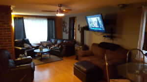 Leather couch recliner with chair and loveseat