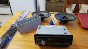 JVC KD S17 car CD stereo, speakers, and antenna