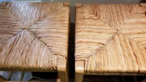 Wicker Rattan bar stools x 2 - like new