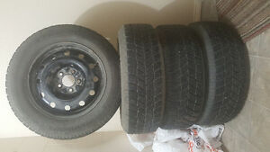 Hankook 225 60 R16 Winter Tires Non Studded with Rims Almost New