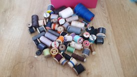 50 reels of cotton thread large & small , different colours all for £7