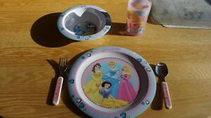 Disney Princess tableware set - plate, bowl, glass, fork, spoon