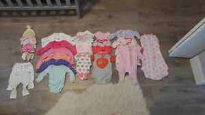 Baby girl clothes 0-3 months and diapers