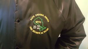 MTO safe driving award coat
