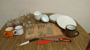Kitchen / dinning set - plates, cutlery, bowls, mugs, glasses