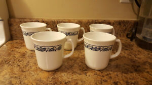 "Corning ""Old Town Blue"" Mugs - Set Of 5"