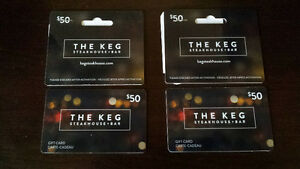 "Two ""THE KEG"" $50 gift cards"