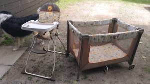 Play pen and high chair