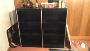 Black Double Bookcase with Silver Trim